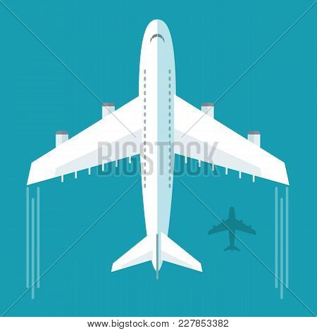 Plane Or Airplane In The Sky Vector Illustration In Flat Style. Icon White, Flying Plane, Top View.