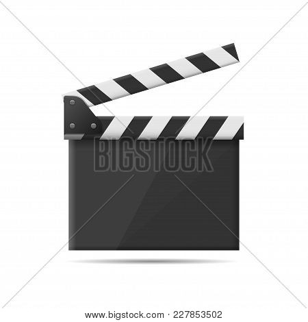 Realistic Film Clapper Board, Movie Intustry. Video Symbol