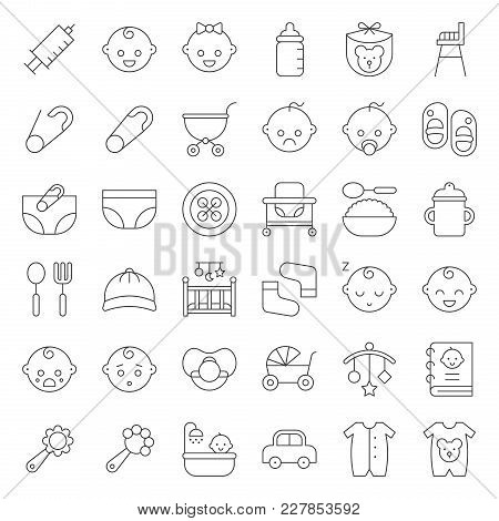 Baby Shower Thin Line Icon Set With Baby Avatar