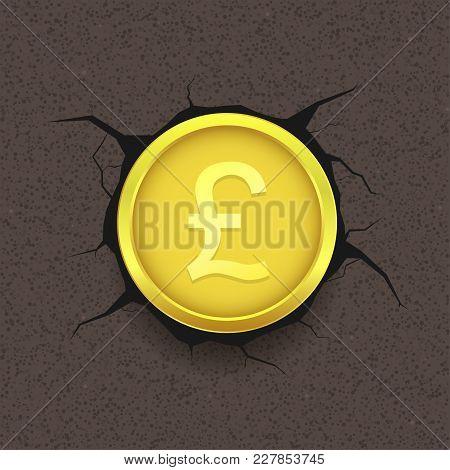 Golden Pound Coin On Cracked Background. British Money Symbol, Vector Illustration