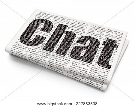 Web Design Concept: Pixelated Black Text Chat On Newspaper Background, 3d Rendering