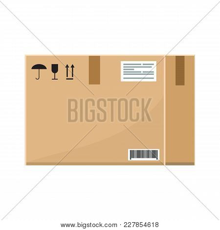 Empty Cardboard Box With Flat And Solid Color Style Design. Illustrated Vector.