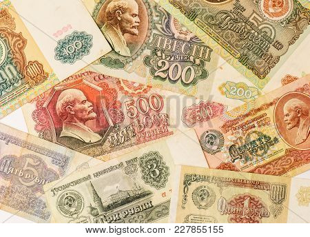 The Photo Of Old Soviet Ruble Banknotes. Set Of Old Soviet Roubles.