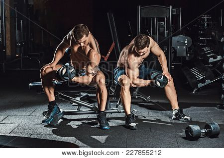 Two Men Bodybuilders Execute Exercise With Dumbbells For Biceps Sitting In Dark Gym Looking On A Bic