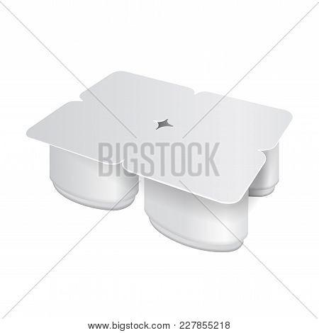 White Plastic Pack For Yogurt, Cream, Dessert Or Jam. Oval Form. Pack Of Four. Vector Realistic Pack