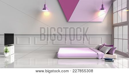 White-purple Bedroom Decorated With Purple Bed,tree In Glass Vase, Violet Pillows, Wood Bedside Tabl