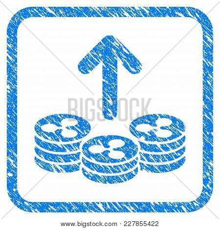 Spend Ripple Coins Rubber Seal Stamp Imitation. Icon Vector Symbol With Grunge Design And Dust Textu