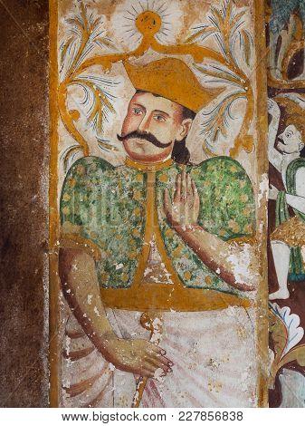 Kandy Sri Lanka - Jan 6, 2017: Asian King On Old Fresco Of Ancient Buddhist Temple On January 6, 201