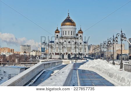 Facade Of Cathedral Of Christ The Saviour In Moscow At Sunny Winter Morning.