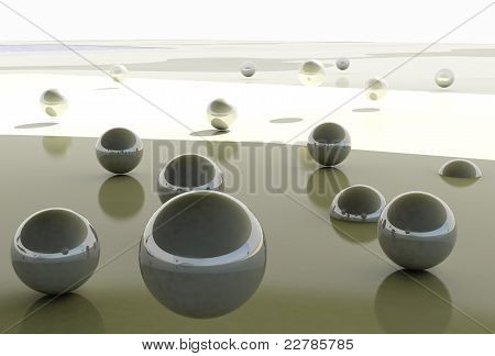 Abstract balls background / fly free