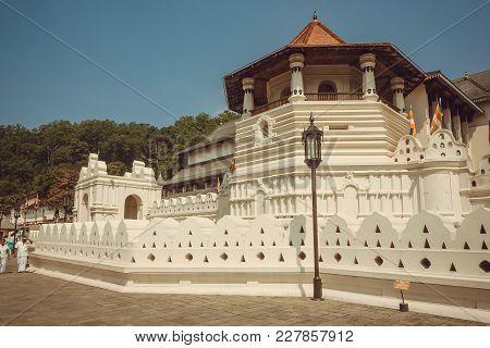 Kandy, Sri Lanka - Jan 6, 2018: Unesco World Heritage Site, The Golden-roofed 16th Century Temple Of