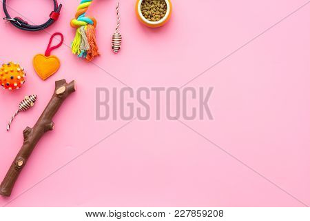 Pet Accessories. Toys Near Bowls With Animal Feed, Collar On Pink Background Top View.