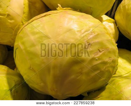 Fresh Cabbage Grown In The Village, Lying In A Box.