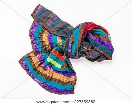 Knotted Stitched Patchwork Scarf From Silk Strips Isolated On White Background