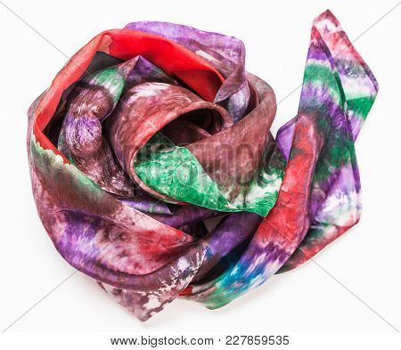 Crumpled Hand Painted Batik Silk Headscarf With Abstract Pattern On White Background