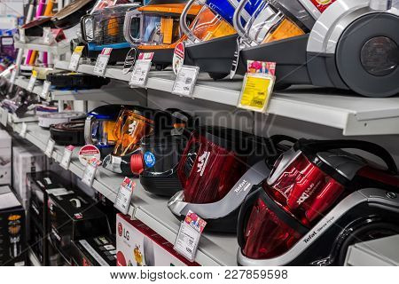 Moscow, Russia - February 20, 2018. Vacuum Cleaners In The Electronics Store Eldorado