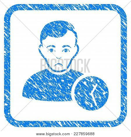 User Clock Rubber Seal Stamp Watermark. Icon Vector Symbol With Grunge Design And Corrosion Texture