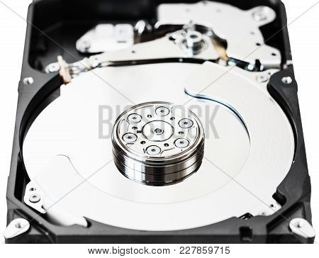 Open Internal 3.5-inch Sata Hard Disk Drive Box Close Up Isolated On White Background