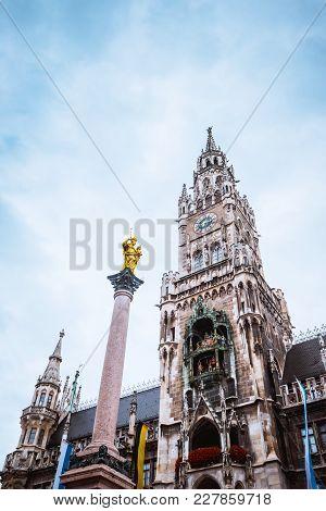 Obelisk In Front Of Munchen City Hall, Munchen, Bavaria, Germany