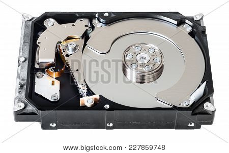 Disassembled Internal 3.5-inch Sata Hard Disk Drive Box Isolated On White Background