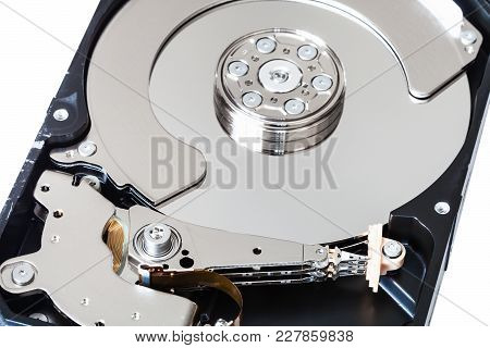 Disassembled Internal 3.5-inch Sata Hard Disk Drive Box Close Up Isolated On White Background