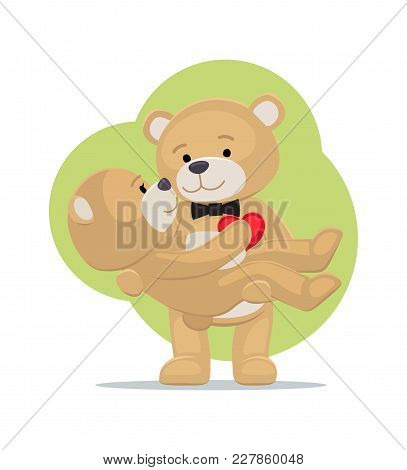 Teddy Bears Couple, Female In Paws Of Lovely Male Hold His Heart, Vector Illustration Of Merry Lover