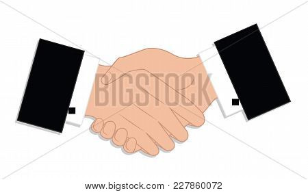 Shaking Hands Of Two Male Hands - Isolated On White Background. - Art - Vector Illustration. The Con