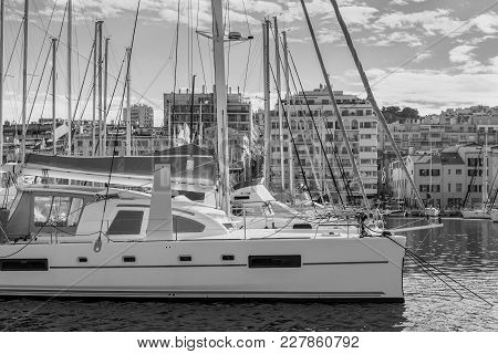 Sailing Yachts In The Old Port Of Marseille. Black And White Photography.