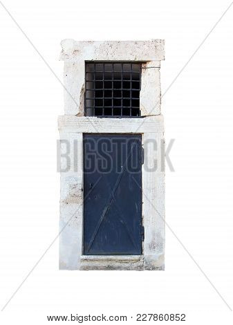 Old Black Metal Iron Door With White Stone Marble Frame Portal Isolated On White Background Closeup
