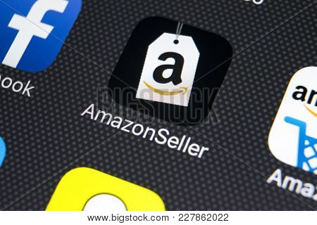 Sankt-petersburg, Russia, February 22, 2018: Amazon Seller Application Icon On Apple Iphone X Screen