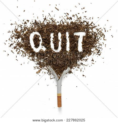 The Broken Cigarette And Word Quit  Made Of Tobacco Isolated On White Background.concept Of Quit Smo