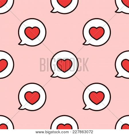 Love Message. Seamless Vector Pattern. I Love You. Speach Bubble