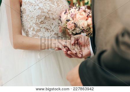 Happy Brides Hold Hands Celebration Ceremony Couple