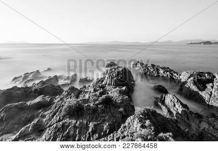 Rocks And Sea At Patos Beach, Nigran, Galicia (spain). Daylight Long Exposure Shot.