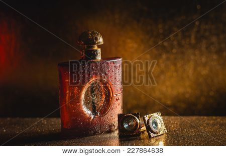 Mens Perfume With Cuff On Golden Background