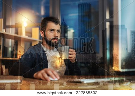 Evening Activities. Calm Attentive Young Man Looking At The Screen Of A Modern Computer While Sittin