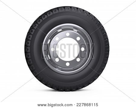 New Vehicle Truck Tire. Big Car Wheel With Disk Front Wiev. 3d Illustration Over White Background.