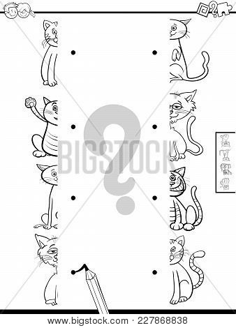 Match Halves Of Cats Game Coloring Book