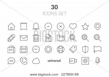 Simple Set Of Basic Interface Related Color Vector Line Icons. Contains Such Icons As Contact, Info,