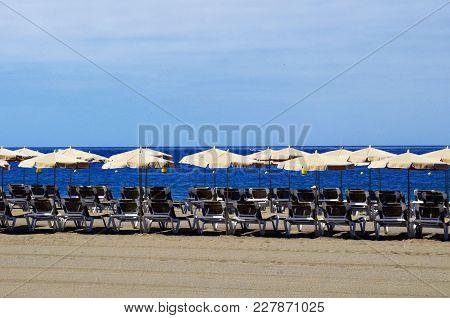 View Of Las Vistas Beach In Los Cristianos,tenerife,canary Islands, Spain.playa De Las Vistas,canari