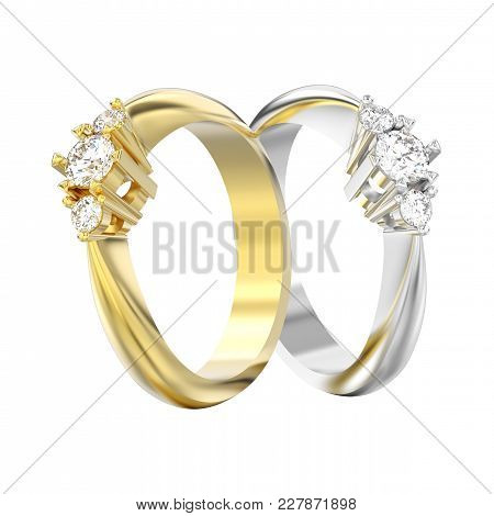 3d Illustration Isolated Two Yellow And White Gold Or Silver Three Stone Diamond Rings On A White Ba