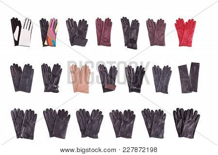 Collection Of Female And Male Gloves On A White Background