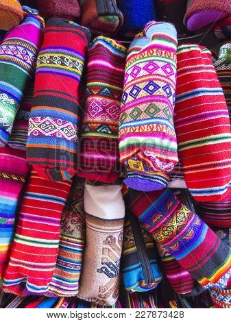 Pencil Cases. Display Of Traditional Souvenirs At The Market In La Paz City, Bolivia. The Photo Work