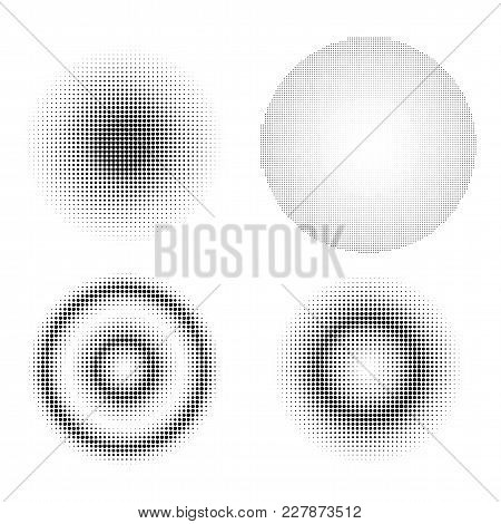 Set Of Abstract Halftone Design Elements. Gradient Black Dot Circles Template Isolated On White Back