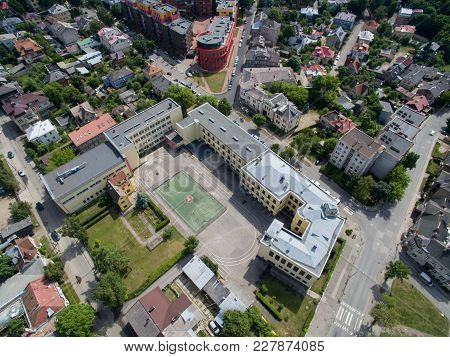 School Sports Stadium In Kaunas, Lithuania Aerial View