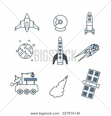 Cosmos Icon Set. Stock Vector Illustration Of Space Related Objects Rockets, Space Ship, Planet, Sat