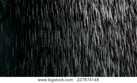 Rain On A Black Background . Photo Of An Abstract Texture