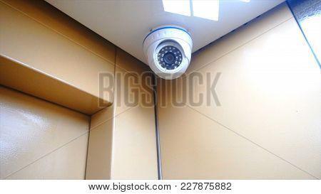 Surveillance Camera Installed In The Elevator. 4k Hd