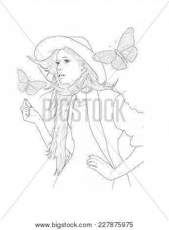 Woman Or Girl With Big Hat, Suit And Butterflies