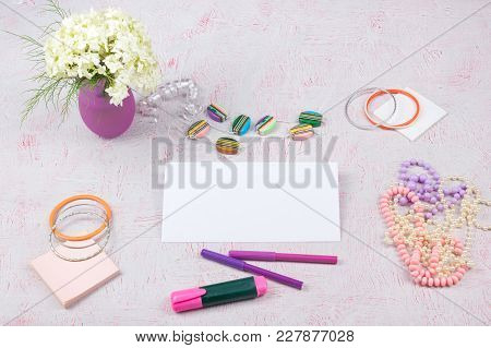 Workspace With Computer, Bouquet Hydrangeas, Clipboard. Women's Fashion Accessories Isolated On Pink